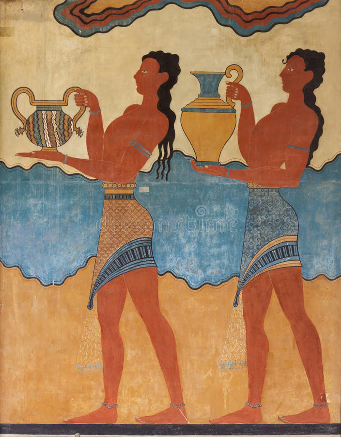 Ancient minoan fresco from Knossos, Crete royalty free stock images