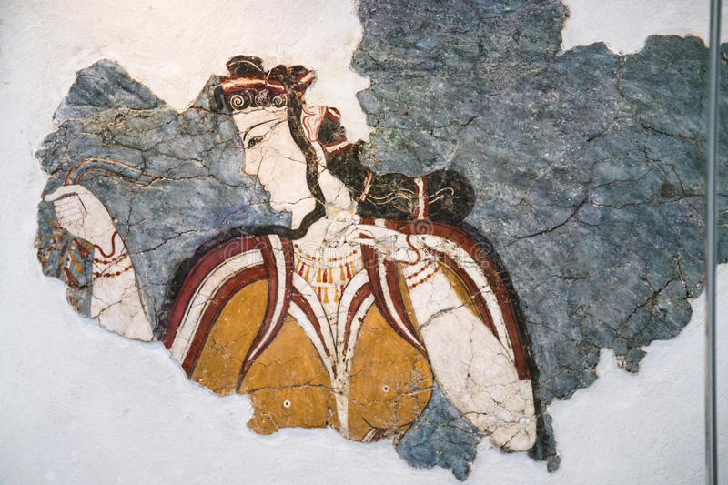 Ancient minoan fresco from Thera in Museum royalty free stock photo