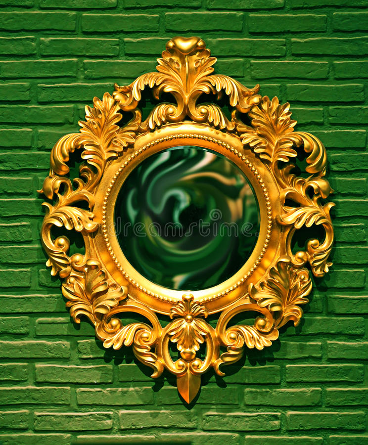 Ancient Mirror Frame on a Wall royalty free stock photos