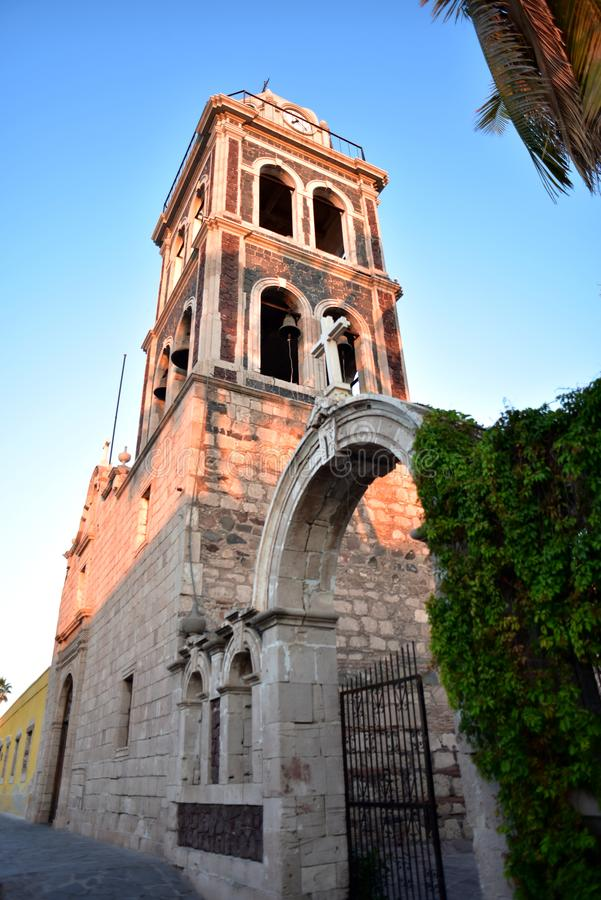 Ancient Mission bell tower in Loreto, Baja California Sur, Mexico stock image
