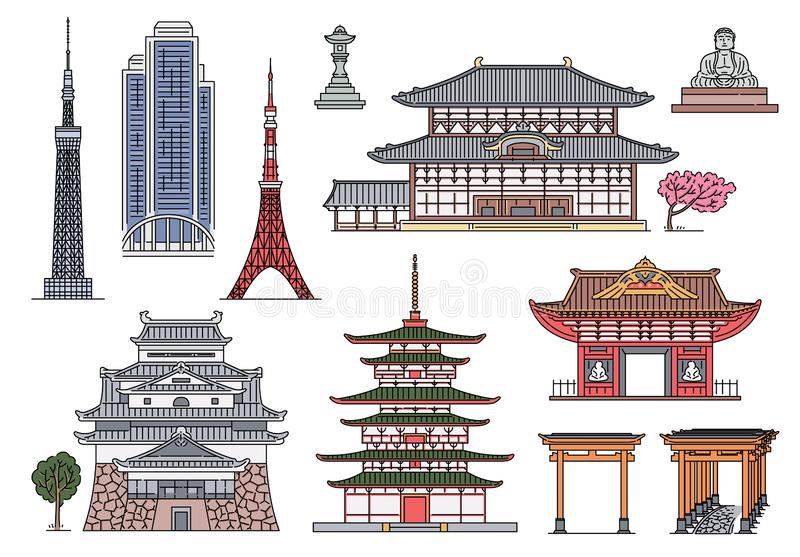 Ancient and modern Japanese landmark building set - exotic Japan architecture collection 库存例证