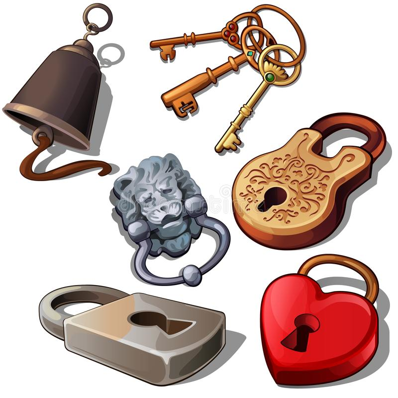 Ancient, modern and romantic padlocks with keys and door bell. Locks in shape of heart, lions head and floral ornament stock illustration