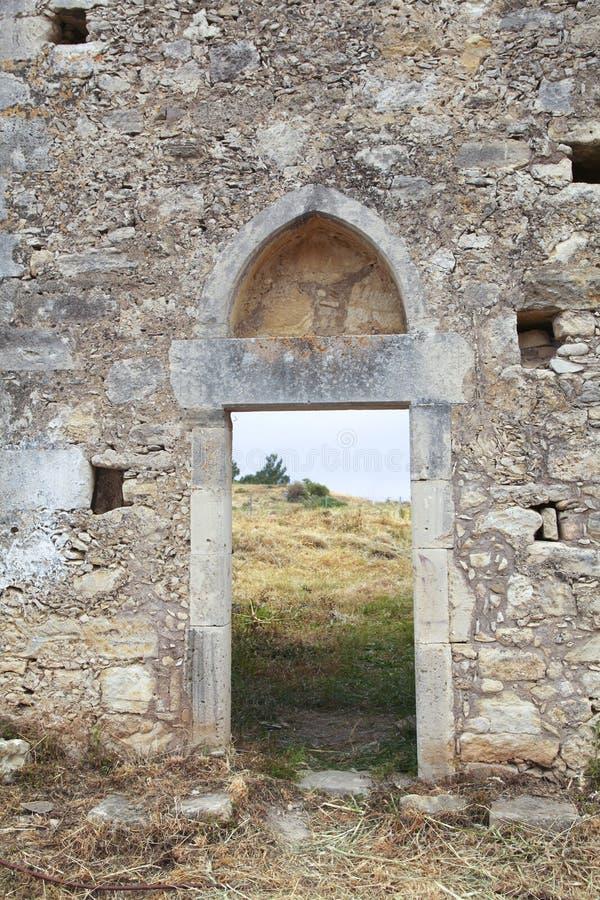 Ancient monastary in Crete stock photo