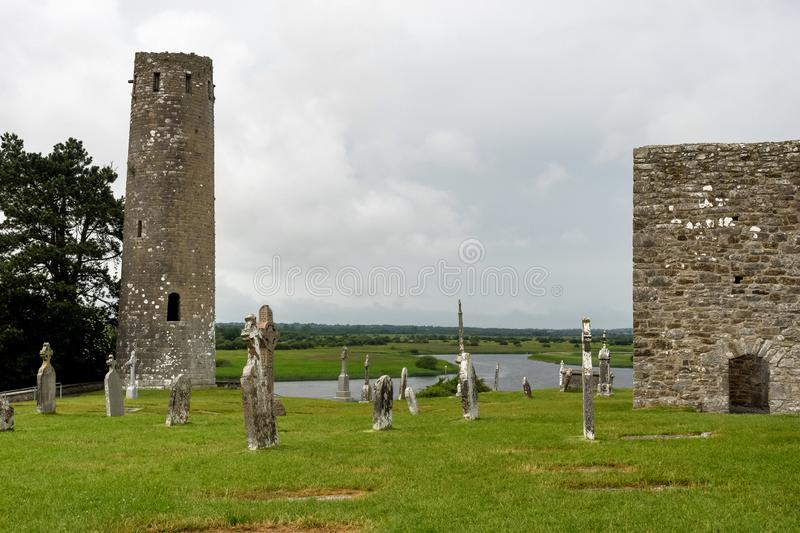 The ancient monastic city of Clonmacnoise in Ireland royalty free stock photos