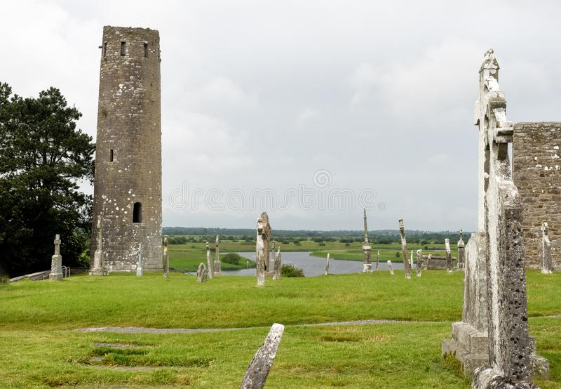 The ancient monastic city of Clonmacnoise in Ireland stock photography