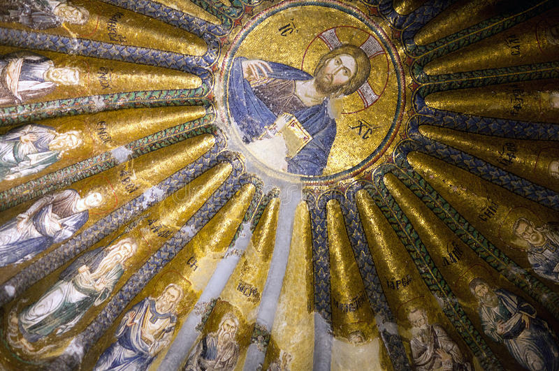 Ancient mosaic in the Church of the Holy Saviour in Chora in Istanbul, Turkey. Ancient mosaic with Christ Pantocrator surrounded by the prophets of the Old stock images