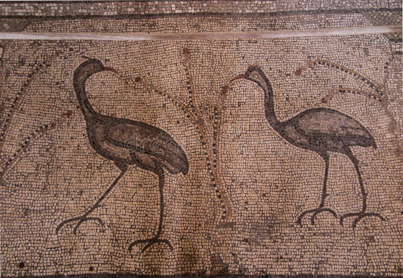 Ancient mosaic. Church of the Multiplication of the Loaves and t stock photo