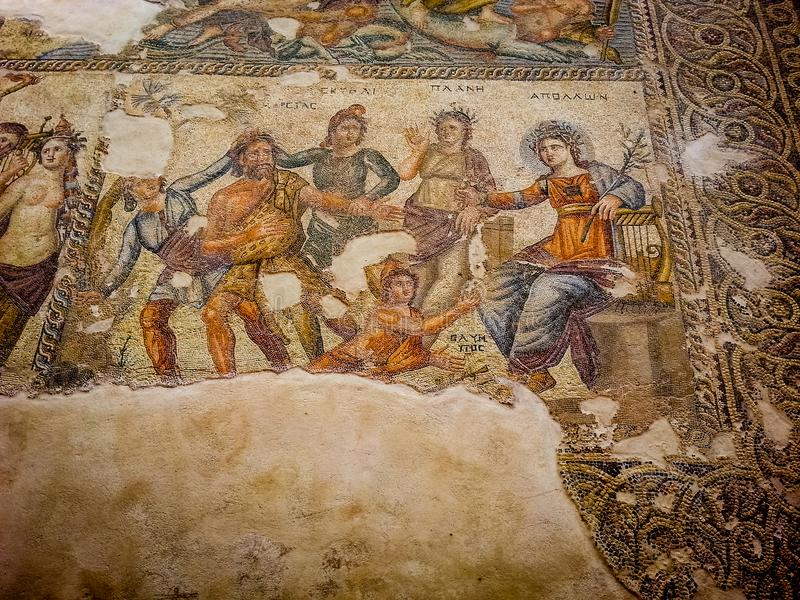 Ancient Mosaics from paphos in Cyprus stock photos