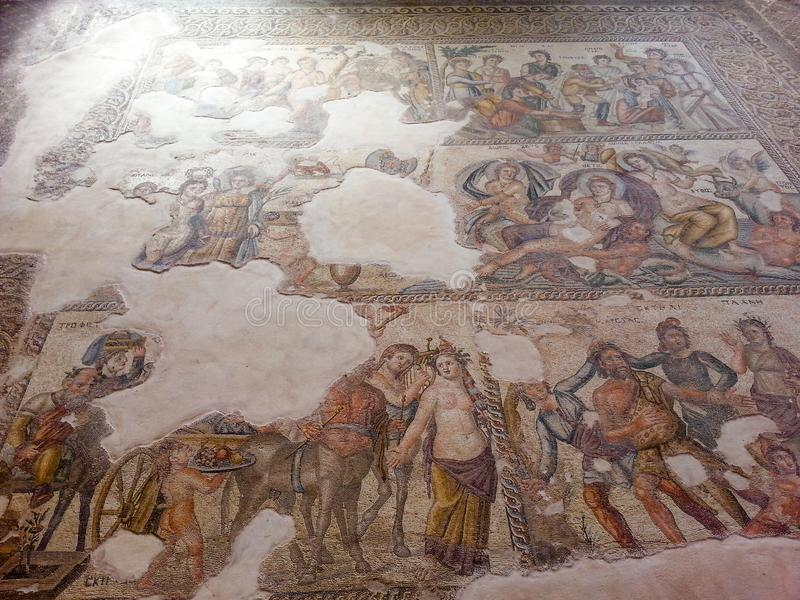 Ancient Mosaics from paphos in Cyprus stock photo