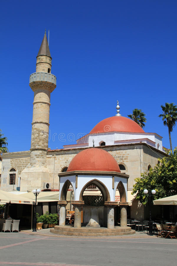 Free Ancient Mosque On Greek Island Of Kos With Minaret Stock Image - 47763451