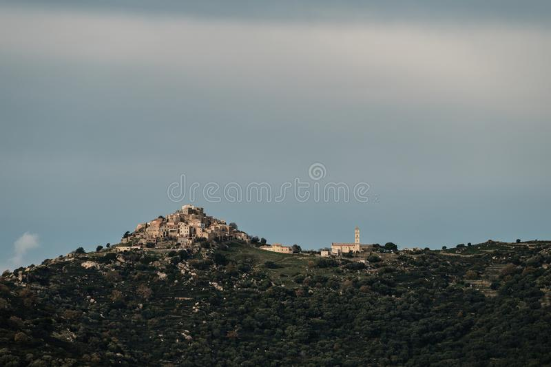 Ancient mountain village of Sant Antonino in Corsica royalty free stock photo