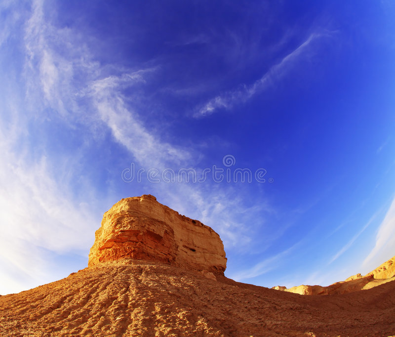 Ancient mountains in desert of Israel on a sunset. Photographed by an objective Fish eye stock images