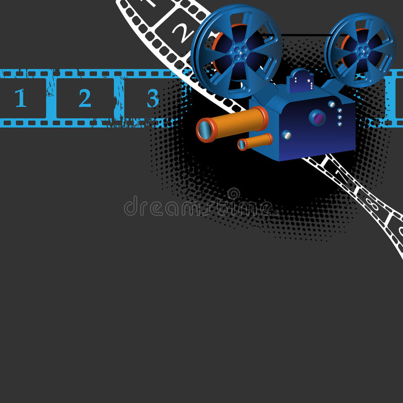 Ancient movie camera. Colorful illustration with numbered filmstrips and ancient movie camera stock illustration