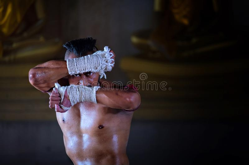 Ancient Muay Thai, Thai is boxing fighter sport vintage style. Thailand royalty free stock photography