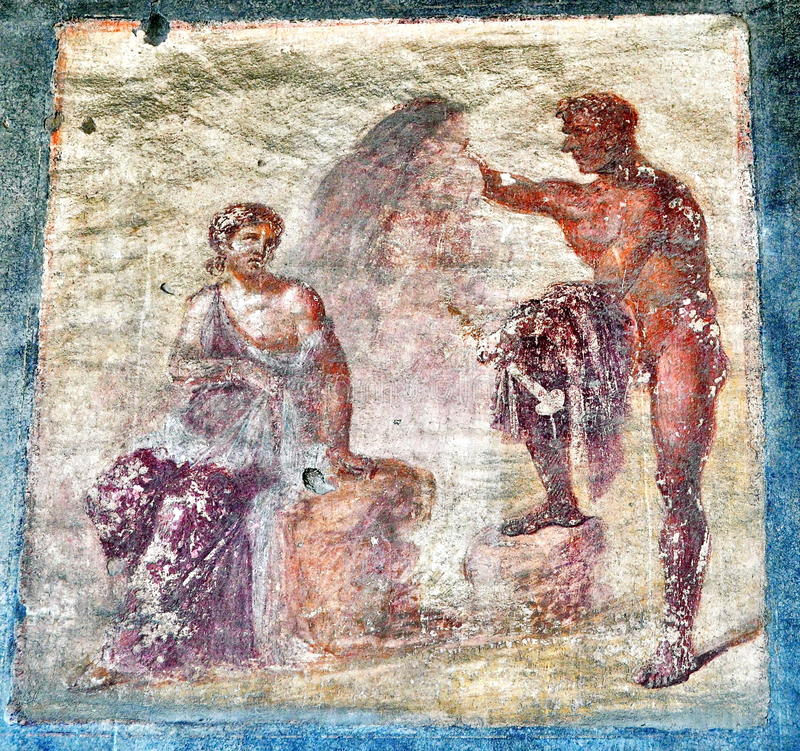 Fresco in Pompeii, Italy. Ancient mural painted fresco in Pompeii ruins , Italy royalty free stock photos