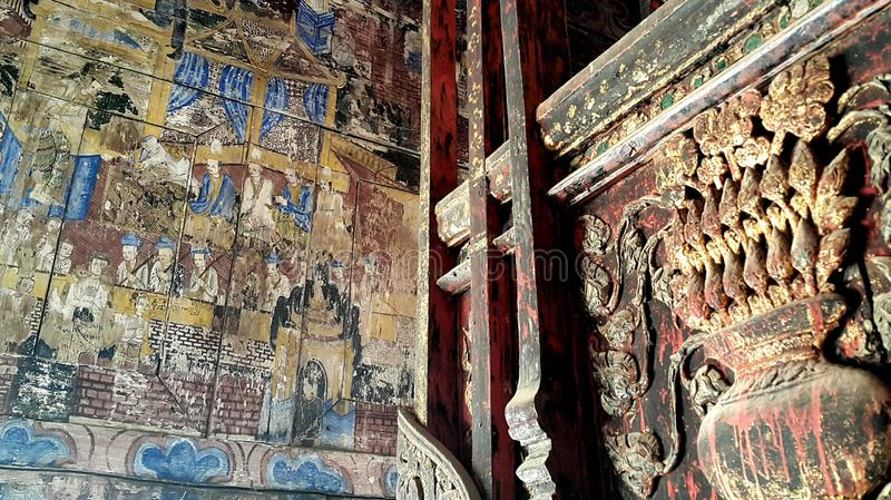 Ancient Mural Painting in Lampang, Thailand royalty free stock photography