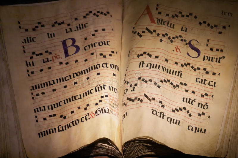 Ancient music book royalty free stock photography