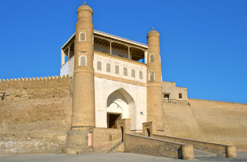Ancient Muslim Architectural Complex Ark fortress. Now a museum-reserve, Bukhara, Uzbekistan, 17 century, UNESCO World Heritage Site stock images