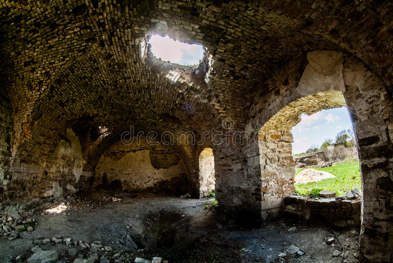 Ancient Mykulynci castle ruines room royalty free stock image