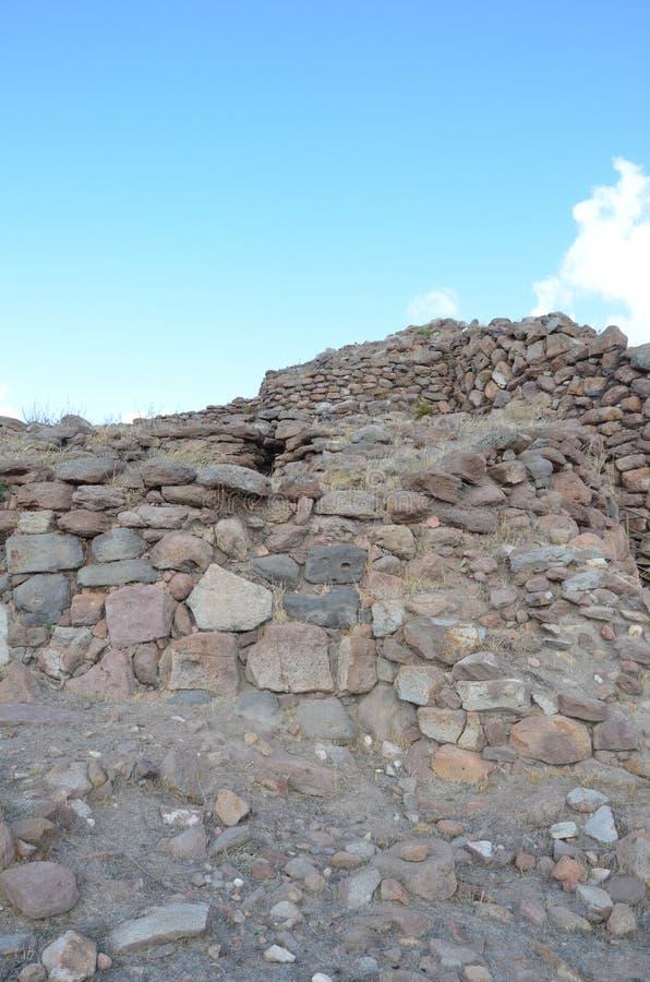 The ancient Nuraghe of Seruci, Sardinia stock photos