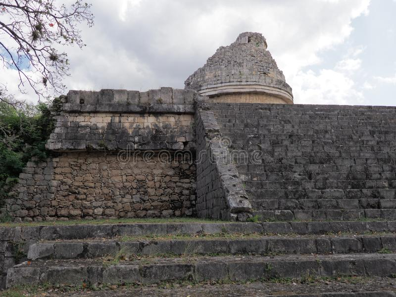 Ancient obserwatory at Chichen Itza mayan town at Mexico stock photography