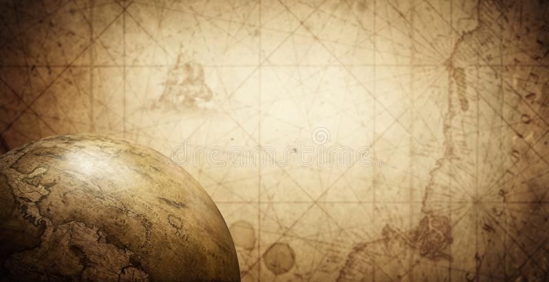 Ancient old globe on the vintage map background. Selective focus royalty free stock image