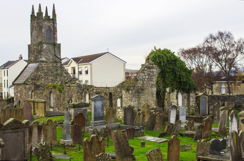The ancient Old Priory ruins in Holywood Northern Ireland stock photo