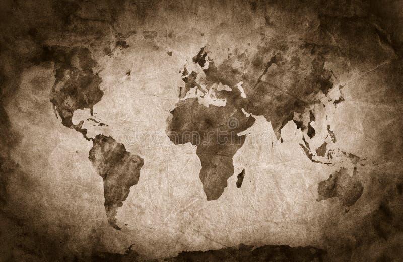 Ancient, old world map. Pencil sketch, vintage background royalty free illustration