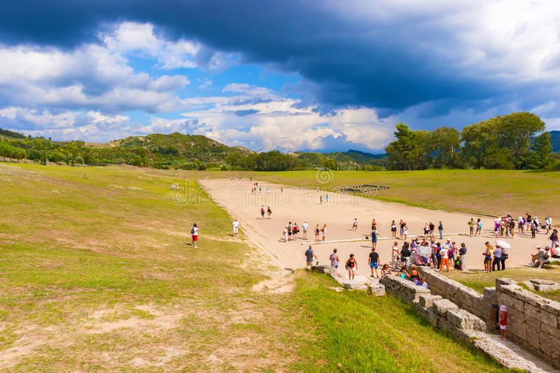 Ancient Olympic games stadium in Olympia, Greece stock photography