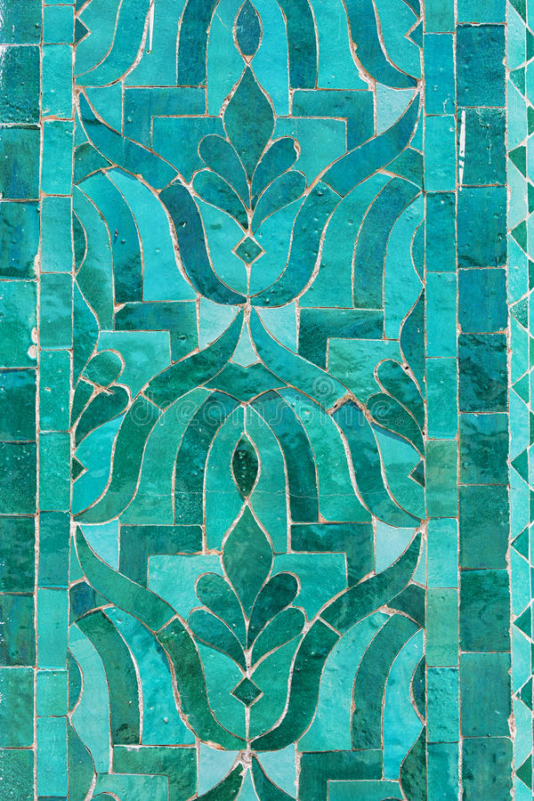 Ancient oriental mosaic in green colours. royalty free stock photo