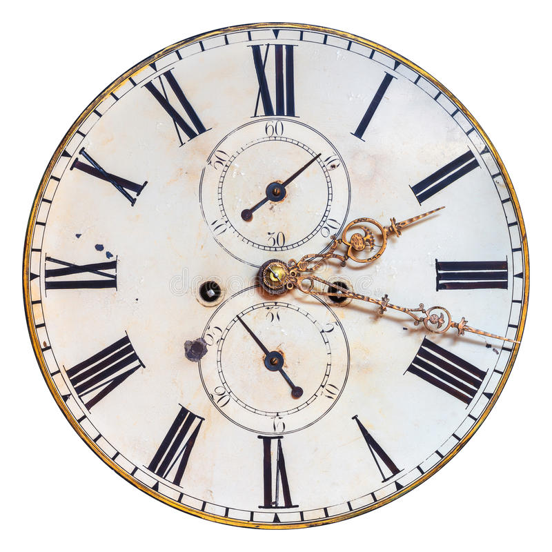 Ancient ornamental clock face isolated on white stock photo
