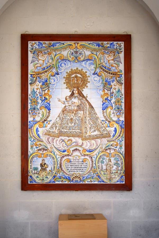 Ancient ornamented tile in the Concathedral de San Nicolas. Alicante Spain royalty free stock images