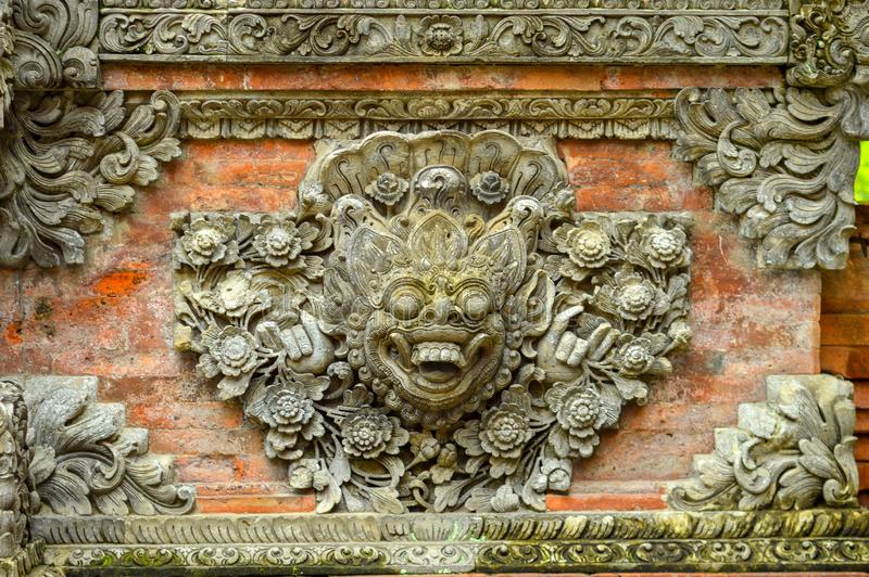 Ancient ornaments on brick walls found in Yogyakarta, Indonesia stock photography