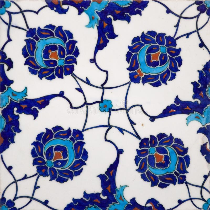 Ancient Ottoman handmade turkish tiles with floral patterns stock photos