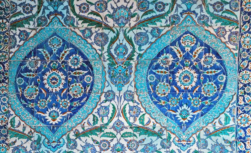 Tiled background with oriental ornaments composition Turkish Blue. Ancient Ottoman patterned tiles background with oriental ornaments Turkish. Blue Tiles royalty free stock images