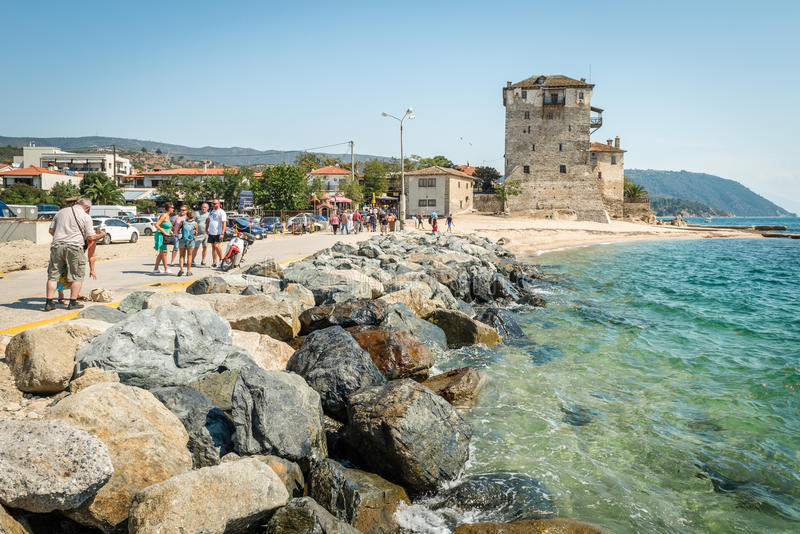 Ancient Ouranoupolis Tower on Athos peninsula in Halkidiki, Greece stock photography