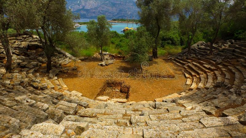 Ancient outdoor theatre royalty free stock photo