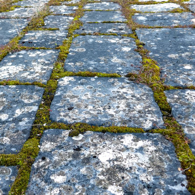 Ancient outside floor paved with stones. Archeological and ancient medieval architecture paved floor with big stones outside royalty free stock photos