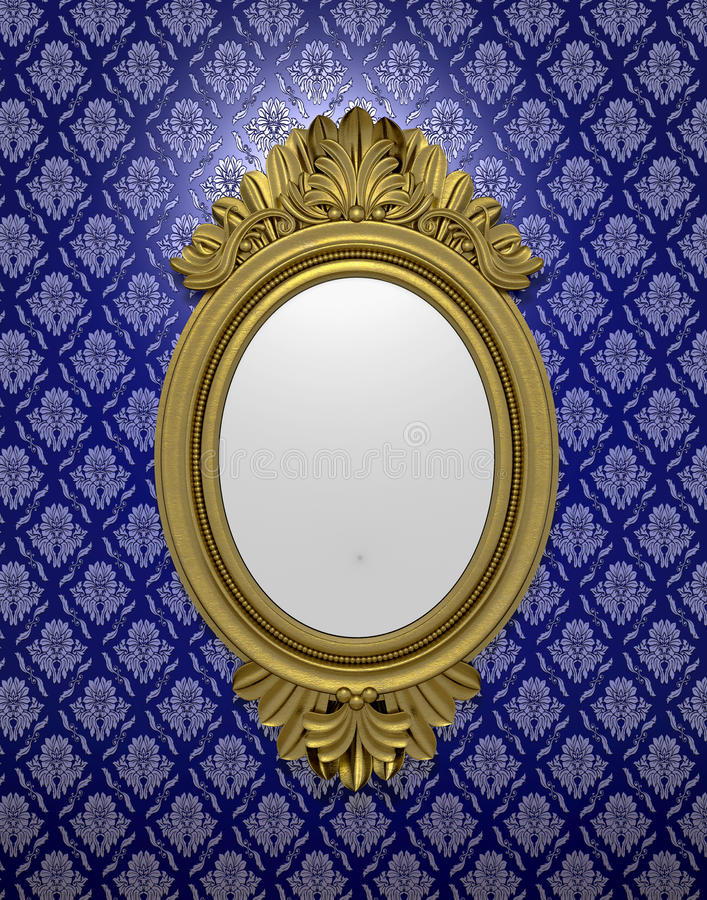 Ancient oval mirror. An ancient oval mirror in a wooden frame at a wall with patterned purple wallpaper