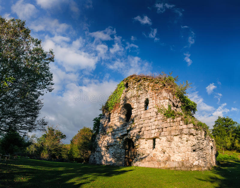 Ancient overgrown stone temple stock images
