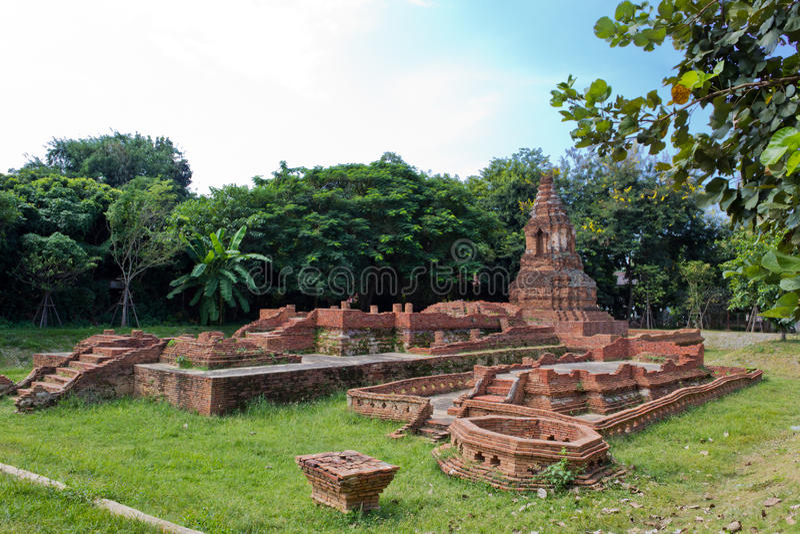 Ancient Pagoda. (Chedi) at Wiang Kam in Chiangmai Thailand stock photo