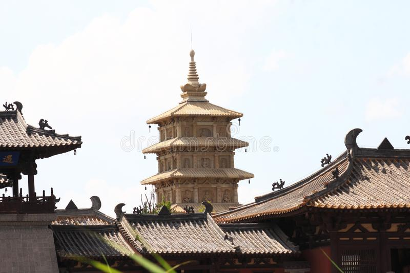 Ancient pagoda. Chinese traditional architecture. Photo taken in Shanxi province, China royalty free stock photos