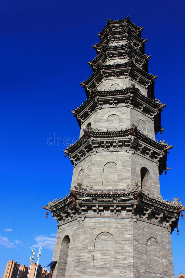 Ancient pagoda. Chinese traditional architecture. Photo taken in Shanxi province, China royalty free stock photo
