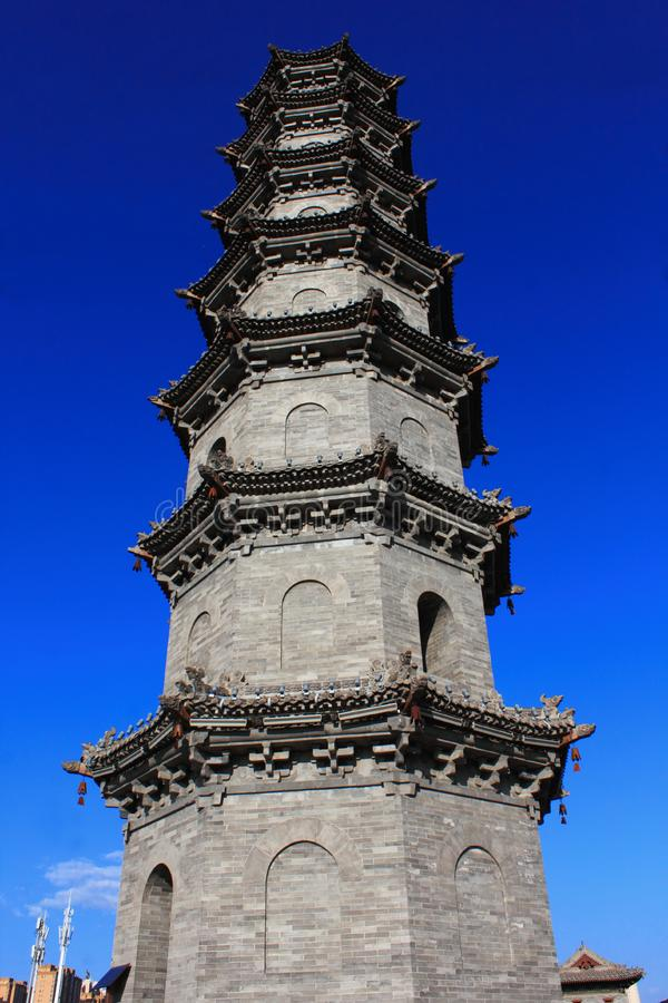 Ancient pagoda. Chinese traditional architecture. Photo taken in Shanxi province, China stock photo