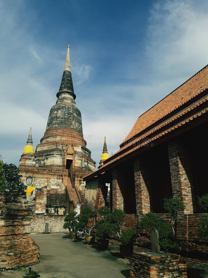 Ancient pagoda in Ayutthaya, Thailand. Building, temple, wat, historic, art, sky, cloud royalty free stock photography