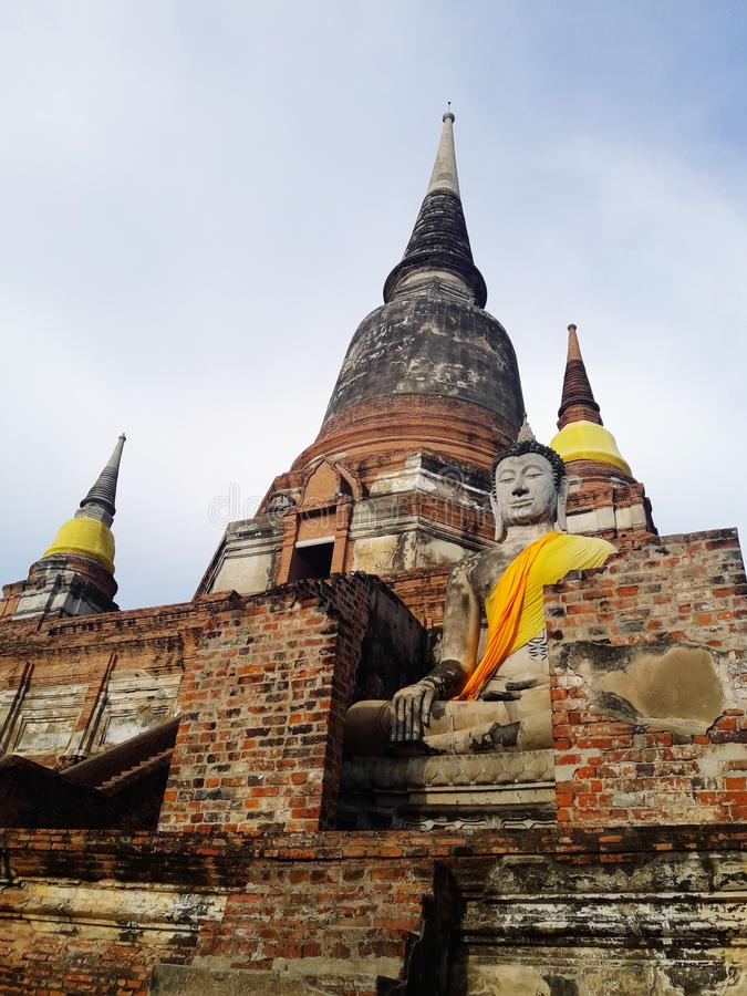 Ancient pagoda in Ayutthaya, Thailand. Travel, sky, cloud, buddha, temple royalty free stock images