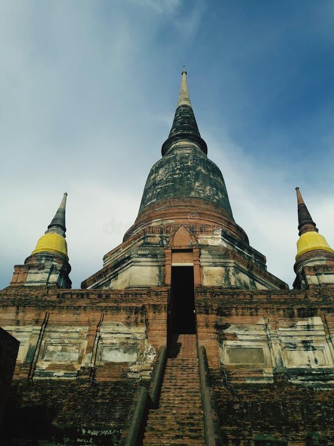 Ancient pagoda in Ayutthaya, Thailand. Temple, building, buddha, sky, cloud, historic, wat, travel royalty free stock photography