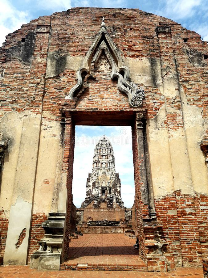 Ancient pagoda in Ayutthaya, Thailand. Travel, temple, stone, sky, cloud, building, buddha, wat royalty free stock image