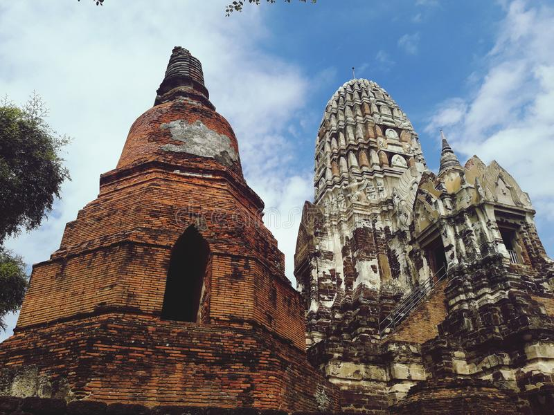 Ancient pagoda in Ayutthaya, Thailand. Travel, temple, wat, sky, cloud, building, historic, old stock photos