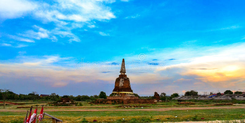 Ancient pagoda. This photo was taken in Ayutthaya, Thailand royalty free stock photography